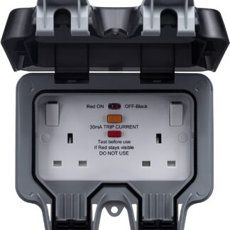 British General WP22RCD Weatherproof Twin Outdoor Power Sockets