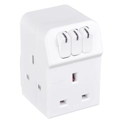 Masterplug MSWG3 Three Way Power Socket Switched Adapter