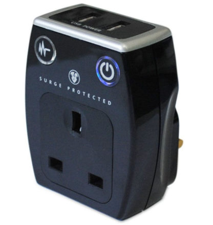 Masterplug SRGAUSB Surge protected Adpater with USB Charging