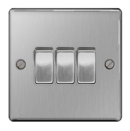 British General Sbs43 Stainless Steel Light Switch 3 Gang
