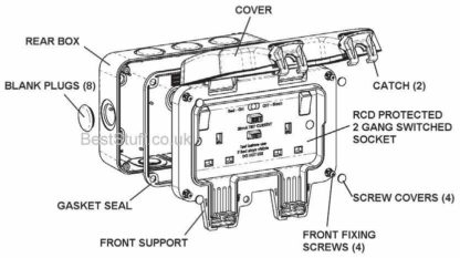 Line drawing of the BG WP22RCD Twin Outdoor Power Sockets